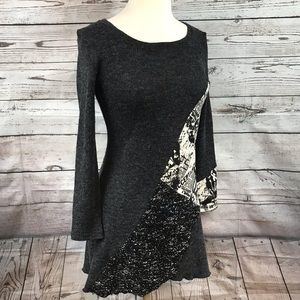 Shana K Black & Gray Media Sweater Tunic Dress M